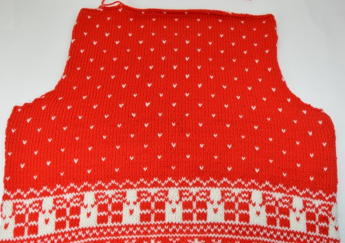 Weihnachtspullover Knitalong Rückenteil