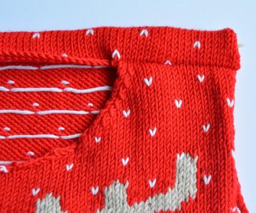 Weihnachtspullover Knitalong Schulternaht