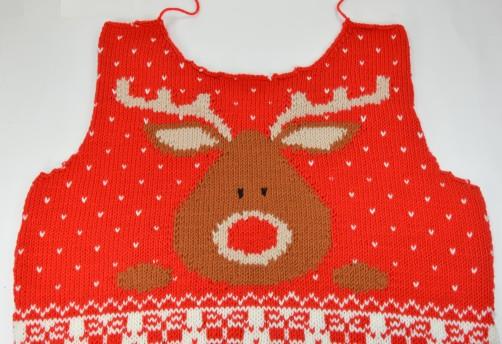 Weihnachtspullover Knitalong Vorderteil