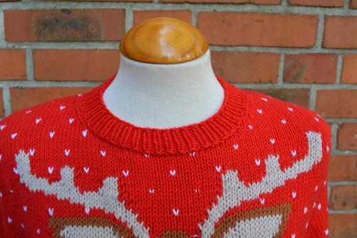 Weihnachtspullover Knitalong fertiger Halsausschnitt