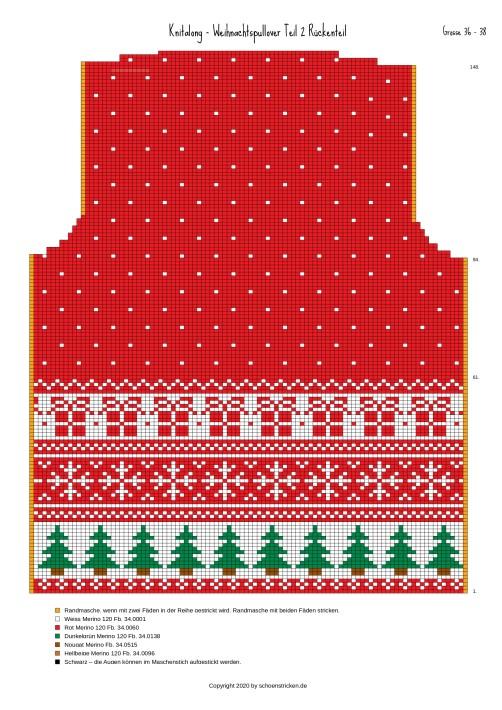 Weihnachtspullover Rückenteil 36-38