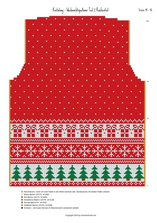 Weihnachtspullover Rückenteil 44-46