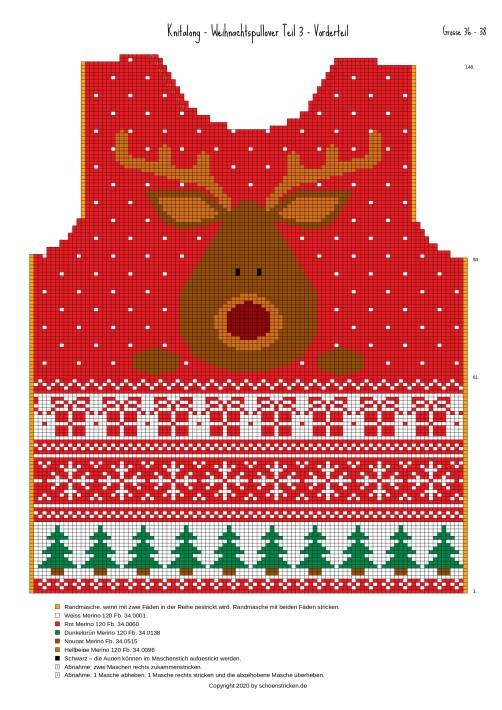 Weihnachtspullover Vorderteil 36-38