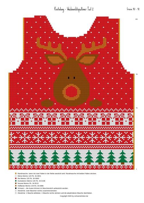 Weihnachtspullover Vorderteil 40-42