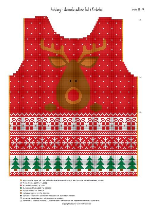 Weihnachtspullover Vorderteil 44-46